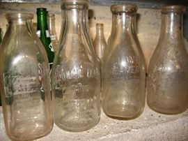 Old milk bottles from Clover Creamery, Salem Creamery, Roanoke Creamery.