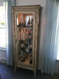 Bamboo style lighted curio cabinet