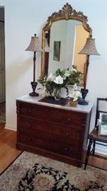 Hall mirror and marble top cabinet