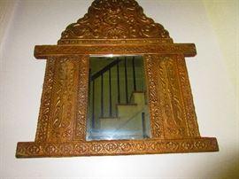 Mid- Victorian metalwork mirror