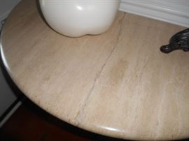 stone top demi lune table