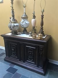 Lovely Lamps and buffet server with lots of storage.