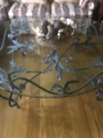 Fabulous large ornate  iron base glass top round cocktail table