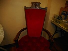 Red velvet chair- note detail at top. Not half price, but reduced