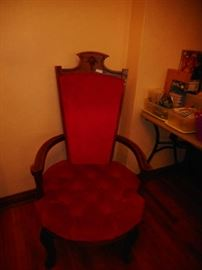 Very unusual and nice red velvet chair. Not half price, but reduced