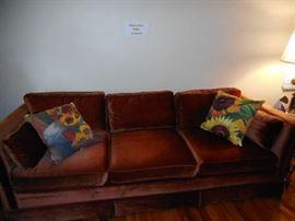 Hendreson velvet sofa. Rust colored. Sunflower pillows sold separately