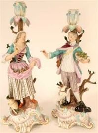 Meissen Porcelain Figural Candlesticks