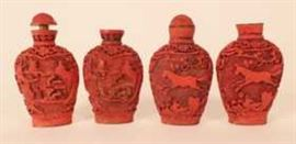 Group of faux Cinnabar Snuff Bottles, Asian