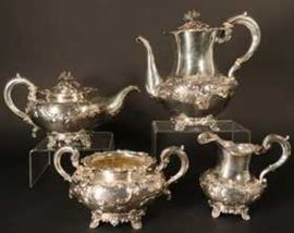 19th Century Victorian Sterling Silver Repousse Tea Service, London England 1844