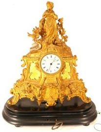 Louis Philippe Gilt Bronze French Mantel Clock, 19th Century, c 1840-50, of Rococo form depicting Leda and the Swan