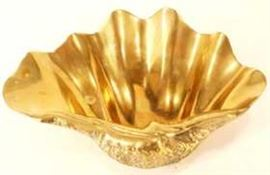 Cast brass seashell form bowl