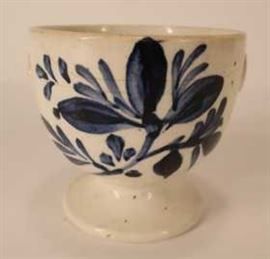 Staffordshire Blue and White Decorated Creamware Pottery Porcelain Footed Blood-Letting Cup, 18th C.
