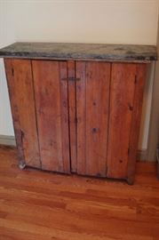 Antique primitive kitchen cupboard.
