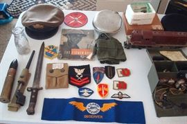 Bayonets, patches, hat & other military items.