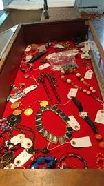 A sampling of vintage costume and paste jewelry-many from MGM studios in Culver City, CA