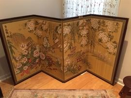 Another Asian hand painted silk wall hanging room divider