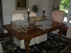 Drexel table, with a nice selection of chrystal and accent pieces.