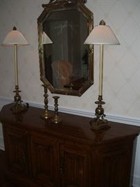 Buffet, brass lamps and more.