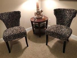 Pair of Like New Zebra Print Occasional Chairs