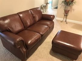 Like New Leather Couch with Matching Ottoman