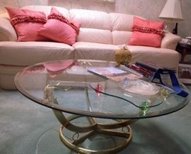 LaBarge solid brass glass-top coffee table