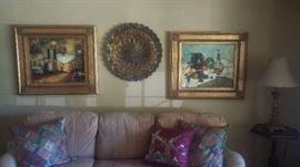 Oil paintings, brass pierced tray