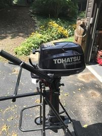 MAY BE PURCHASED PRIOR TO SALE! CALL JIM AT 233-5153 TO ARRANGE INSPECTION.                 Tohatsu 6 HP sail pro outboard motor.  – used one season -10x maximum.   $1250.00