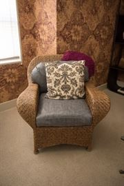 Rattan Wingback Armchair And Ottoman-Grey Leather Cushions