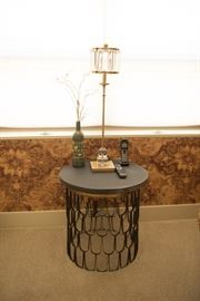 Round Slate Top Table With Metal Base