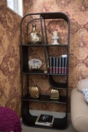 Pair Of Black Metal Arched Bookcases