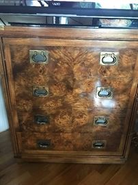 Campaign style television cabinet or liquor cabinet. This has a great fold down door to expose interior storage