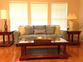 Thomasville   two end tables with draws and coffee table - all with glass tops