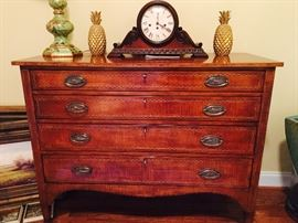 "Sarreid/Van Thiel, Walnut Chest with four drawers, spadefoot, inlaid wood detail and decorative side pulls, 48""W x 39""H x 20.5"" D"
