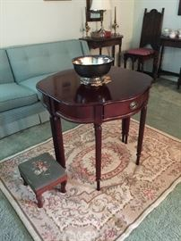 pair half round tables