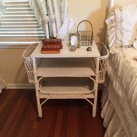 white painted wicker table