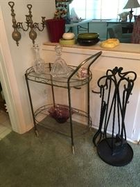 Brass & Glass tea cart, Iron fireplace set