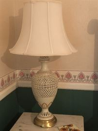 Vintage metal ornate lamp