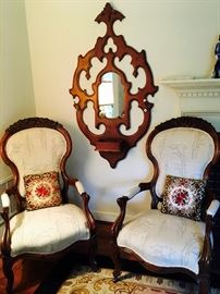 Victorian chairs and mirror/ hat rack, gorgeous!