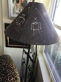 Iron carved floor lamp $100