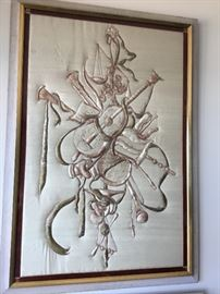 Stitched silk art work from 1920s $400 each