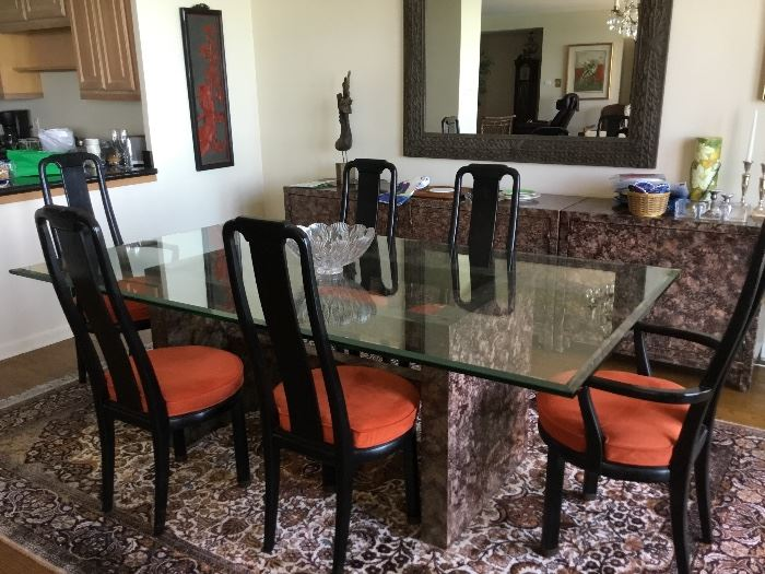 Modern dining table /and matching buffet $700