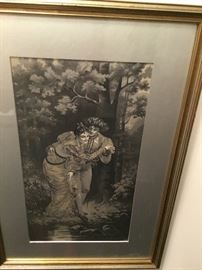 Vintage art purchased from Marshall Fields $100