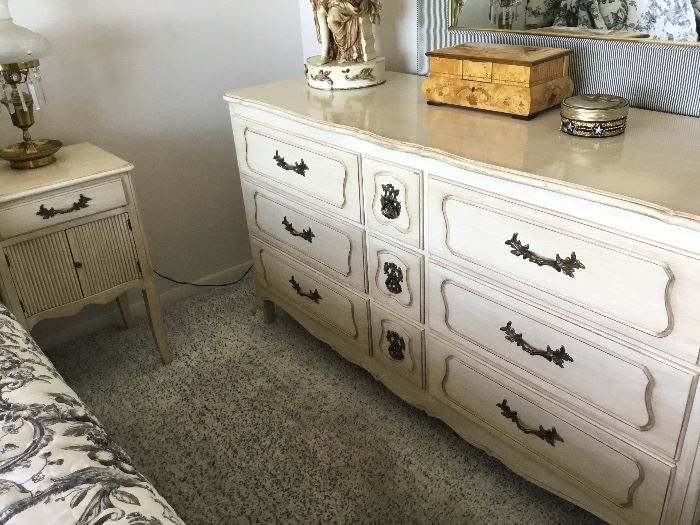 Mid century bedroom set dresser $475. Two matching bedside tables $100 each