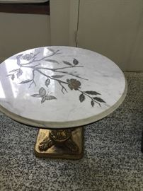 Marble etched gold leaf table $185