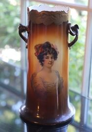 An Antique Warwick Gibson Girl Portrait Vase with Twig Handles.