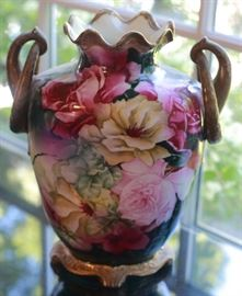 Antique Gorgeous Nippon Pink and White Roses & Flowers Vase with Double curved handle.
