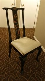 Black lacquer hand painted Asian chair