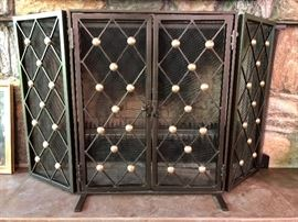 """Byron"" Powder Coated Iron Gold Metal Accented 2-Door Fire Screen"