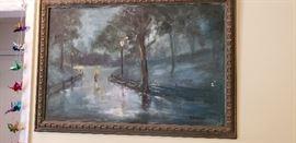 """Original Oil """"Central Park Scene"""""""