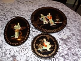 """Hard Stone Inlay made in Hong Kong                                                Large Round is 8""""x8""""                                                                      Small Round 14""""                                                                                                                                                             Oblong 9""""x12"""""""